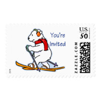 Winter Polar Bear Skiing You're Invited Postage