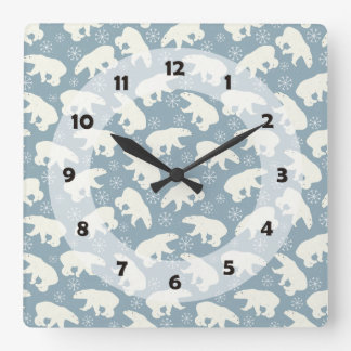 Winter Polar Bears seamless pattern + your ideas Square Wall Clock