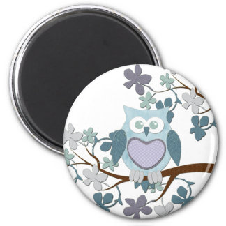 Winter Polka Owl in Tree 2 Inch Round Magnet