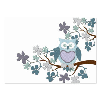 Winter Polka Owl in Tree Business Card