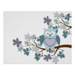 Winter Polka Owl in Tree Poster