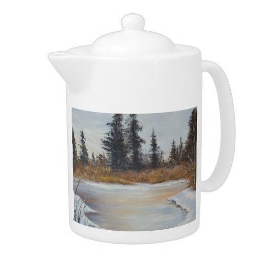 Winter Pond Landscape Teapot