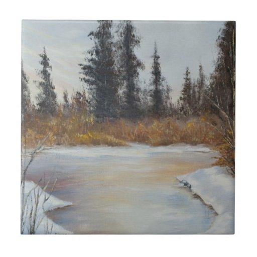 Winter Pond Landscape Tile