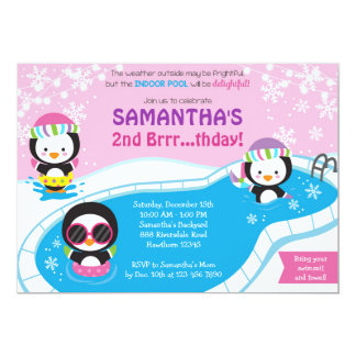 Winter Pool Birthday Invitation / Pool Invitation