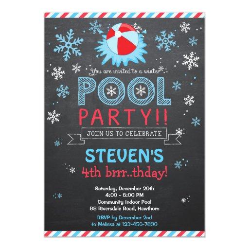 winter pool invitation    winter pool invite