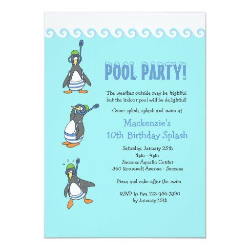winter pool party invitation