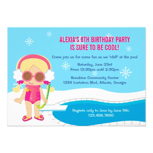 Winter Pool Party Invite (front side)