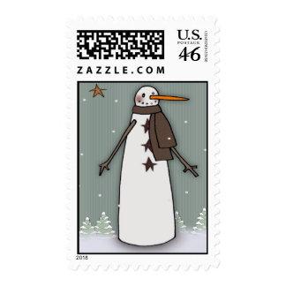 Winter Prim Snowman Postage Stamp