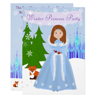 Winter Princess Party Brown Hair Card