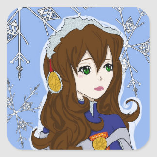 Winter Princess Square Stickers