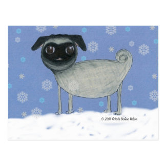 Winter Pug Postcard