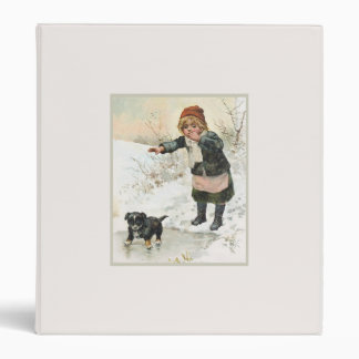 Winter Puppy on Thin Ice Vintage 3 Ring Binders