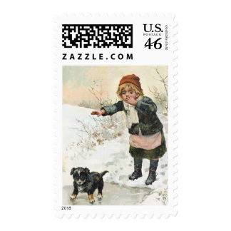 Winter Puppy on Thin Ice Vintage Postage Stamps