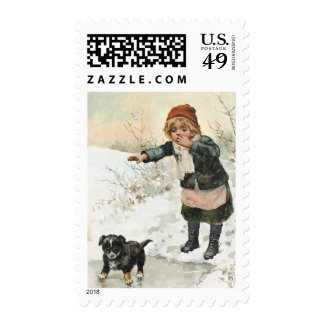 Winter Puppy on Thin Ice Vintage Postage