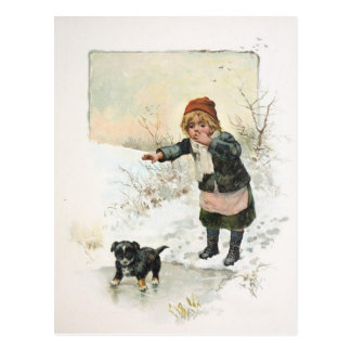 Winter Puppy on Thin Ice Vintage Postcard