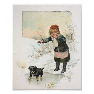 Winter Puppy on Thin Ice Vintage Poster
