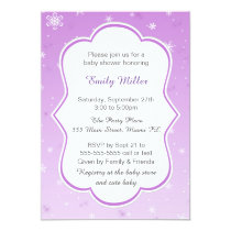 Winter Purple Snowflakes Baby Shower Invitation