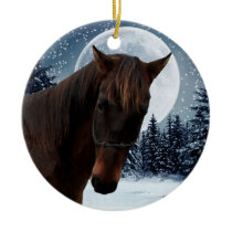 Winter Quarter Horse Ceramic Ornament