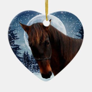 Winter Quarter Horse Double-Sided Heart Ceramic Christmas Ornament