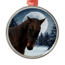 Winter Quarter Horse Metal Ornament