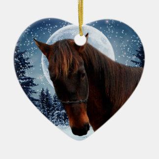 Winter Quarter Horse Double-Sided Heart Ceramic Christmas Ornament
