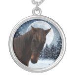 Winter Quarter Horse Round Pendant Necklace