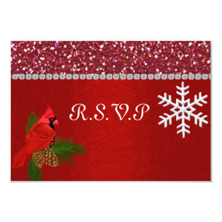 WINTER R.S.V.P CARD WITH MATCHING INVITATION