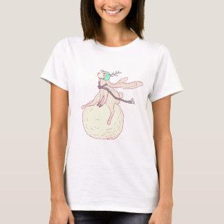 Winter rabbit and snow ball T-Shirt