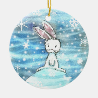 Winter Rabbit on Snow Hill Ornament