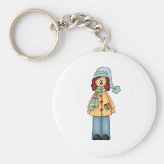 winter rag annie basic round button keychain