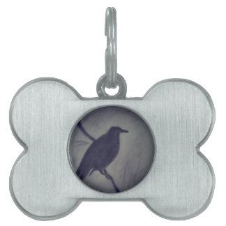 winter raven pet ID tag