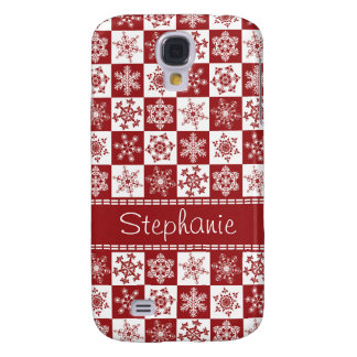 Winter Red and White Snowflakes Christmas Pattern Samsung Galaxy S4 Case
