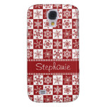 Winter Red and White Snowflakes Christmas Pattern Samsung Galaxy S4 Cover