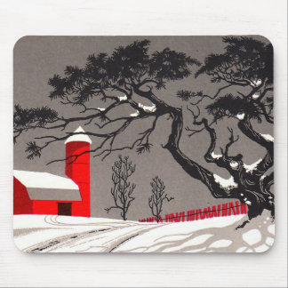 Winter Red Barn & Silo Snow Covered Black Tree Mouse Pad