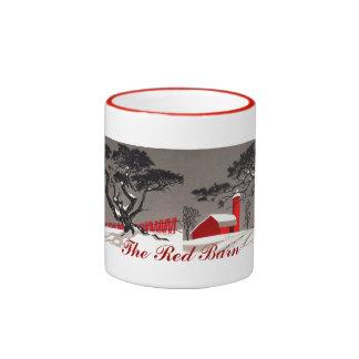 Winter Red Barn & Silo Snow Covered Black Tree Ringer Mug