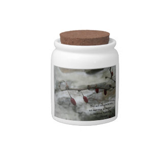 Winter Red Berries & Aesop Kindness Quote Candy Jars