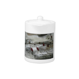 Winter Red Berries & Aesop Kindness Quote Teapot