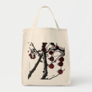 Winter Red Berries Grocery Tote, by H.A.S. Arts Grocery Tote Bag