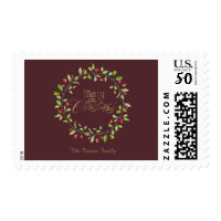 Winter Red Berries Wreath Gold Merry Christmas Postage
