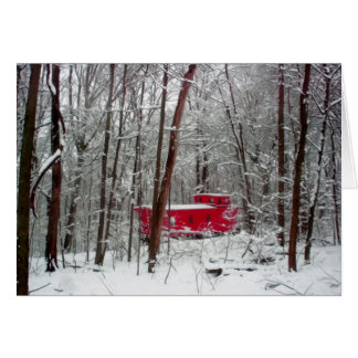 Winter red caboose, Christmas cards, trains Card