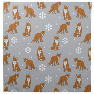 Winter Red Foxes Pattern Cloth Napkin