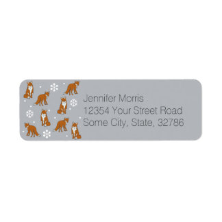 Winter Red Foxes Pattern Label
