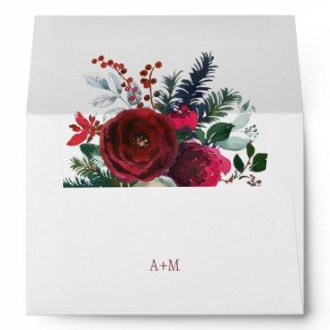 Beach Themed Winter red peonies elegant wedding monogram envelope