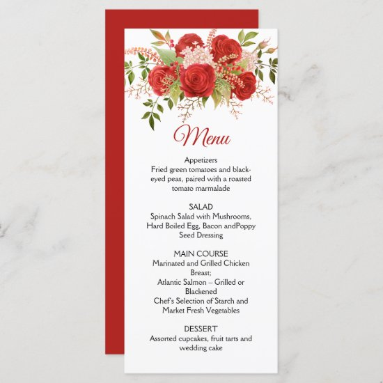 Winter Red Roses, Berries, Stems, Greenery Wedding Menu
