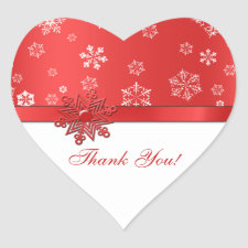 Winter Red & White Snowflake Thank you Stickers