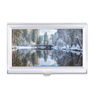 Winter Reflection at Yosemite Case For Business Cards