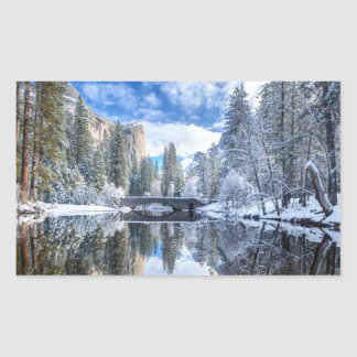 Winter Reflection at Yosemite Rectangular Sticker