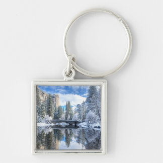 Winter Reflection at Yosemite Silver-Colored Square Keychain
