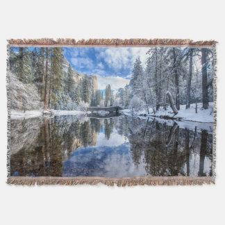 Winter Reflection at Yosemite Throw Blanket
