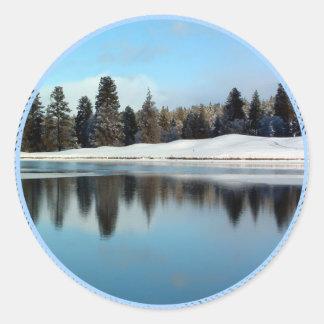 Winter Reflection Classic Round Sticker